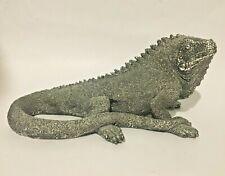 Superb looking & unusual Iguana lizard resin ornament in silver/chrome finish