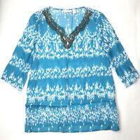 Chico's Women's Size 1 Top Shirt Sequin Beaded Neckline 3/4 Sleeve Blue White
