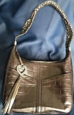 Brighton Barbados Bronze Croc Embossed Leather Hobo Purse E795290 Braided Strap