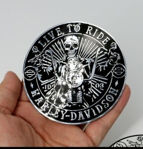 Harley Davidson motorcycle fuel tank sissy bar skull emblem badge live to ride