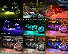 8pc Wireless Sound 18 Color 5050 SMD RGB H.D. Motorcycle Led Lighting Strip Kit