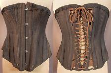 Victorian Vtg Mdm. McCabe's Black Cotton Coutil Cording Gussets S Bend Corset