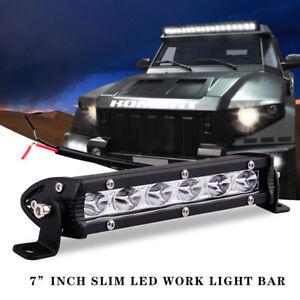 Waterproof Slim LED Light Bar Single Row Spot Flood Offroad Driving ATV 4WD SUV