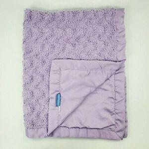 Tiddliwinks Purple Baby Blanket Minky Swirl w Satin Trim Lavender Girl Boy B350