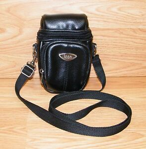 """Genuine icon 6.5 x 3.5"""" (inch) Faux Leather Camera Bag / Pouch With Strap *READ*"""