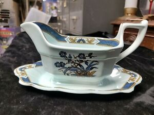 Vintage Adams Gravy Boat With Attached Drip Plate Ming Toi Blue Pattern