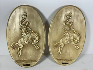 Tan And Gold Western Decor Texas Bucking Bronco Horse Riding Plagues Vintage
