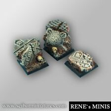 Scribor Miniatures: Templar Ruins 25mm Square Bases (3) - SMM-BSTR0047