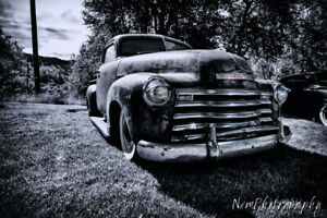12x18 in. Garage Poster 1950 Chevy Pick Up Truck, Hot Rod Art Man Cave Decor