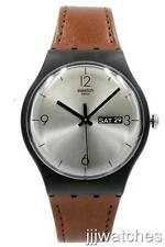 New Swatch Originals Lonely Desert Brown Leather Day Date Watch 42mm SUOB721 $75