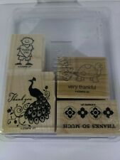 Very Thankful - Stampin Up Rubber Stamp Set Peacock Boy Tortoise