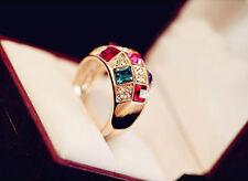 Size 8 Women Colourful Rhinestone Crystal Gold Finger Elegant Ring Jewelry BCC91