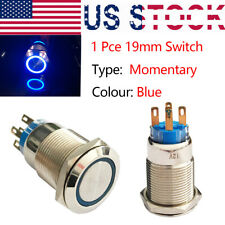 19mm Momentary Push Button Power Switch Blue LED waterproof IP65 Ring Indicator