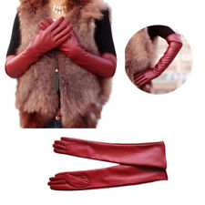 Women Long Synthetic Leather Evening Gloves Soft Warm Opera Elbow Winter Mittens