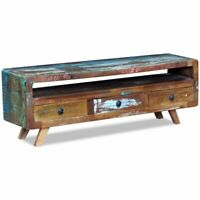 TV Cabinet 3 Drawers Solid Reclaimed Wood Media Console Entertainment TV Stand