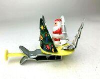 Vintage Metal Tin Litho 1950's Spinner Push Toy Santa Claus Christmas Tree Japan