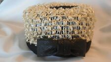 Vintage Ladies Pill Box Style Hat Black & Cream Raffia Union Made USA (AH