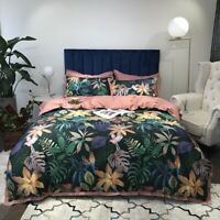Luxury Tropical Botanical Cover 4Pcs Egyptian Cotton Bedding Set Fitted Sheet