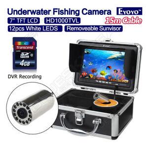 "EYOYO 15m/49ft 7"" Screen 1000TVL Fish Finder Fishing DVR Video Camera White LED!"