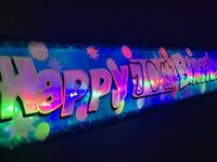 Flashing LED Light up Happy Anniversary banner 25th,40th,50th,Party decorations