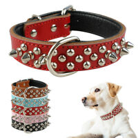 "1.0"" wide Studded Dog Collars & D Ring Cool for Medium Large Dogs Boxer"