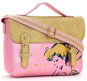 Disney Store Tinkerbell Fairy Satchel Shoulder Bag Pink Gold Glittery Handbag