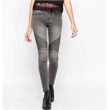 Jeans da donna slim, skinny in denim grigio