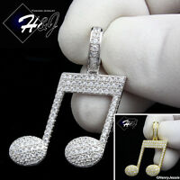 MEN 925 STERLING SILVER LAB DIAMOND SILVER/GOLD ICED OUT MUSIC NOTE PENDANT*P153