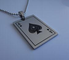 ACE of SPADES NECKLACE Playing Card Pendant Poker Black Jack Biker Rocker Gothic