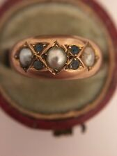 Stunning Victorian Antique Sapphire Pearl Yellow Gold Ring Circa 1803 Birmingham