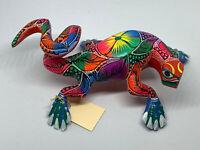 Neon Rainbow Lizard Alebrije Hand Carved Oaxacan Folk Mexican Folk Art Handmade