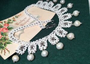 Vintage 1930s Ivory Pearl White Glass Micro Bead lace effect Collar Necklace
