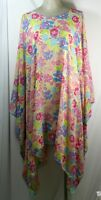 Plus size poncho style top/tunic, pink, multi color, floral pattern,size 3X-4X