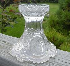 Antique EAPG Vintage Old Pinwheel wreath Hobstar Glass Punch Bowl Pedestal Base