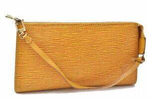Authentic Louis Vuitton Epi Pochette Accessoires Pouch Yellow M52959 LV D3477