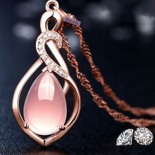 Elegant 18K Rose Gold Plated Silver Filled Rose Quartz Teardrop Necklace NF41