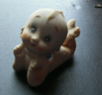 "Cute Vintage Porcelain Bisque Kewpie Baby Girl Lying Down Figurine 2 1/2"" Tall"