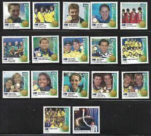 2000 Olympics Sydney Set of 16 Gold Medallists + Cathy Freeman Olympic Torch MNH