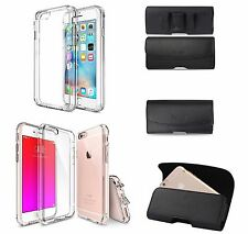 FOR IPHONE 5 5S SE LEATHER POUCH BELT CLIP HOLSTER AND CLEAR TPU GEL CASE COVER