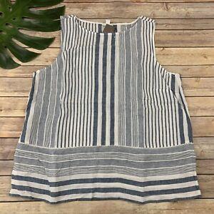 J Jill Love Linen Seaside Blue White Stripe Tunic Top Size XL New Sleeveless
