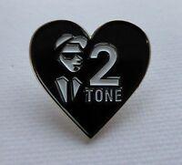 Metal Enamel Pin Badge Brooch Two 2 Tone Heart SKA Top Ranking MOD
