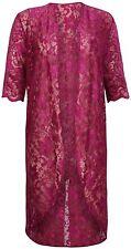 Womens Ladies Plus Size Floral Lace Kimono Cardigan Short Sleeve Long Opentop Plum 22-24