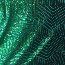 Iridescent Green Geometric Designer Bombshell Stretch Sequin Sold By The Yard