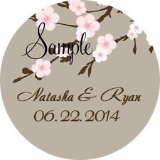 168 Personalized Custom Cherry Blossom Wedding Round Stickers Envelope Seals