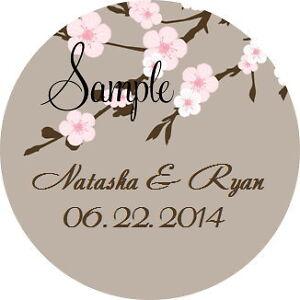 120 Personalized Custom Cherry Blossom Wedding Round Stickers Envelope Seals