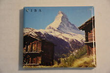 Switzerland Ciba Vtg Handkerchief Picture Box Mountain View Doily Floral Sewn