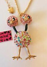 Betsey Johnson Crystal Rhinestone Enamel 2 Headed Chicken Necklace Pendant