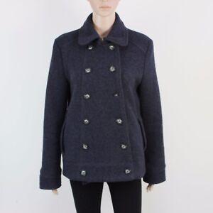 GAP Womens Size L Blue Grey Button Up Wool Jacket Coat
