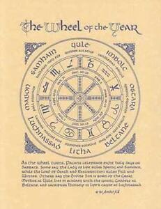 Pagan Wheel of the Year Parchment-Like Page for Book of Shadows, Altar!
