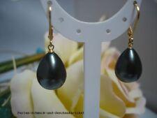 Ohrringe Tahiti-Schwarzgrün aus Muschelkernperlen Tropfen 925er Silber vergoldet